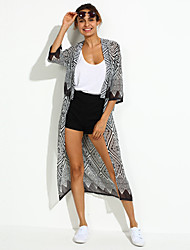 Women's Casual/Daily Simple Trench Coat,Geometric V Neck ¾ Sleeve Spring Gray Cotton / Polyester Thin