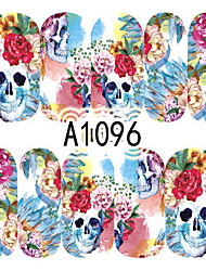 1pcs Nail Art Halloween Sticker Colorful Skull DIY Nail Art Decoration A1096-1100