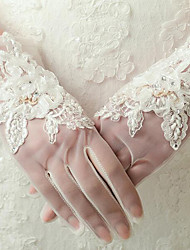 Wrist Length Fingertips Glove Net Bridal Gloves with Sequins / Beading / lace