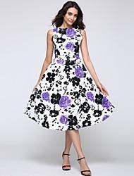 do vintage em torno do pescoço vestido de flores, algodão / spandex / elástico vermelho / preto / ocasional roxo / festa das mulheres