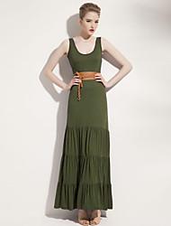 Joanne gatinho vestido solto de praia feminino, midi mangas sólida azul / vermelho / verde / laranja spandex todas as estações