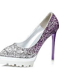 Women's Heels Summer Heels / Closed Toe Glitter Dress Stiletto Heel Sparkling Glitter Blue / Purple / Red / Gold Walking