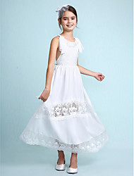A-line Ankle-length Flower Girl Dress - Chiffon Scoop with Lace