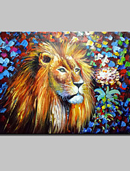 Hand Painted Modern Abstract Lion Animal Oil Painting On Canvas Wall Art With Stretched Frame Ready To Hang
