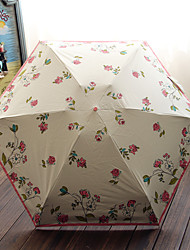 Hand Painted Flowers Half Off Umbrella Small And Pure And Fresh And Translucent Super Sun Umbrella