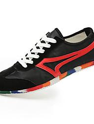 Da uomo-Sneakers-CasualPiatto-Tessuto-Nero Blu Borgogna