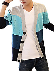 Men's Striped Casual / Work Cardigan,Cotton / Acrylic / Polyester Long Sleeve Blue / Green / Orange 916339