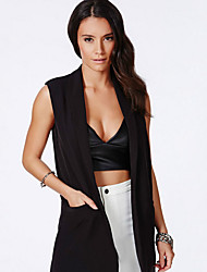 Women's Casual/Daily Simple Summer Jackets,Solid V Neck Sleeveless Black Others Opaque