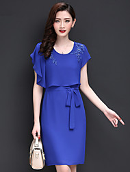 Women's Going out Vintage / Simple Sheath / Chiffon Dress,Embroidered Round Neck Above Knee Short Sleeve