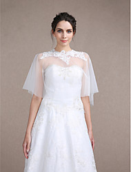 Women's Wrap Capelets Sleeveless Tulle Ivory Wedding / Party/Evening Scoop Appliques Pullover