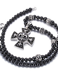 Gothic Style Jewelry 316L Stainless Steel Black Oil Pattern Pendant Black Glass Beads Long Necklace For Men