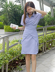 Women's Casual/Daily Simple Shirt Dress,Striped Shirt Collar Knee-length Short Sleeve Blue Polyester Summer