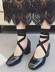 Черный / Красный-Женский-На каждый день-Полиуретан-На толстом каблуке-На каблуках-Обувь на каблуках