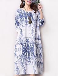Women's Casual Ethnic Print Loose Dress,Print Round Neck Midi Long Sleeve Blue / Green Cotton / Linen Spring / Fall