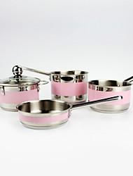 rose mini-4-pièces milkpan pour bébé ou enfants / set en acier inoxydable ustensiles de cuisine / 12 diam