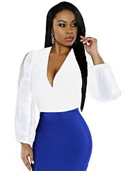 Women V Neck Long Sleeve Chiffon Bodysuit nightwear