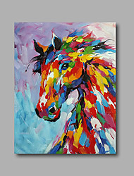 "Stretched (Ready to hang) Hand-Painted Oil Painting 36""x24"" Canvas Wall Art Modern Abstract Pop Art Horses"