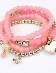 4 Colors Fashion Elegant Charm Jewelry Multilayer Elastic Beads Heart Pendant  Bracelets Women  Gift