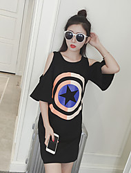 Women's Going out / Beach / Holiday Sexy / Cute / Street chic Summer T-shirt,Print Round Neck ½ Length