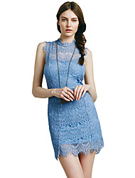 Summer Party/Cocktail/Club/Sexy Women's Dresses Solid Stand Collar Sleeveless Backless Lace Pack Hip Dress