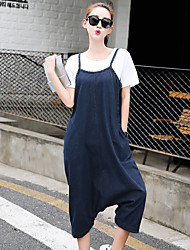 Women's Mid Rise Micro-elastic Jeans Overalls Pants,Simple Loose Harem Solid