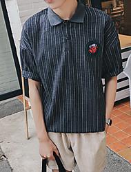 Men's Short Sleeve Polo,Cotton Casual Patchwork