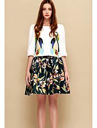Damen Blumen Niedlich Ausgehen T-shirt,Rundhalsausschnitt Frühling ¾-Arm Weiß / Grün Kunstseide Dünn