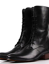 Men's Boots Winter Combat Boots / Round Toe Cowhide Casual Flat Heel Others Black / Brown Others