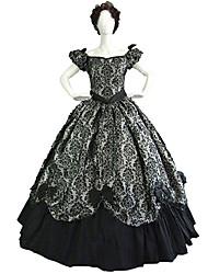 One-Piece/Dress Gothic Lolita Steampunk® / Victorian Cosplay Lolita Dress Black / Beige Print Long Sleeve Long Length Dress For Women