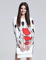 Women's Club Chinoiserie Sheath Dress,Floral Round Neck Mini Long Sleeve White Cotton Fall High Rise Micro-elastic Thin