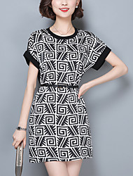 Women's Vintage Print Plus Size / A Line Dress,Round Neck Above Knee Spandex