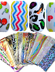 1Set 50pcs 20*4cm Nail Art Mixed Colorful Image Beautiful Foil Transfer Stickers DIY Beauty NJ207