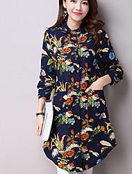 Women's Casual/Daily Street chic Fall Long Slim Shirt,Floral Shirt Collar Long Sleeve Blue / Black Cotton / Linen