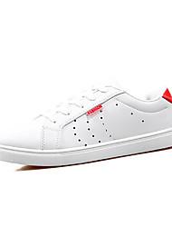 Красный Белый Черный и белый-Женский-Для прогулок-Полиуретан-На плоской подошве-Удобная обувь-Кеды