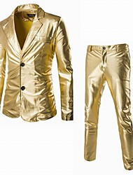 Men's Luxury Slim Fabrics Bronzing Wedding Suits,Cotton / Polyester Long Sleeve Black / Gold / Silver