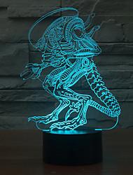 inhabituelle personne contact gradation 3d conduit de lumière de nuit lampe atmosphère décoration 7colorful éclairage nouveauté lumière de