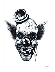 1pc Body Art Decal Tattoo for Women Men Black Eye Evil Injured Clown Circus Design Temporary Tattoo Sticker HB-403