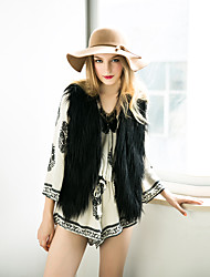 Women's Going out / Casual/Daily Western Style Street chic Fur Vest Coat,Solid Sleeveless Faux Fur
