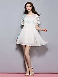Sybel Women's Going out / Cute / Street chic Chiffon Dress,Solid Round Neck Above Knee Short Sleeve White Polyester