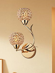 Golden Double-Headed K9 Crystal Wall Lamp