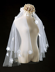 Wedding Veil Two-tier Elbow Veils Cut Edge Tulle Ivory