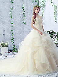 Ball Gown Wedding Dress Court Train Sweetheart Lace / Organza / Tulle with Lace / Ruche / Sequin