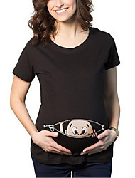 Maternity Round Neck Mesh Printde cute T-shirt,Cotton / Polyester Short Sleeve Blouse Women Tops