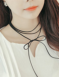 Necklace Chain Necklaces Jewelry Party / Daily / Casual Fashionable Leather Black 1pc Gift