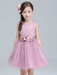 A-line Knee-length Flower Girl Dress - Cotton Satin Tulle Jewel with Flower(s) Sash / Ribbon