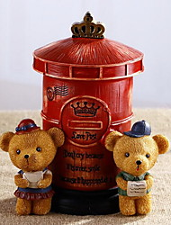 Retro Couple Bear Mailbox Piggy Bank Decoration Crafts (Random Colors)