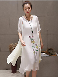Women's Casual/Daily Chinoiserie   Dress,Floral Round Neck Midi Short Sleeve  Linen Summer