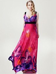 Women's Beach / Plus Size Boho Swing Dress,Floral Strap Maxi Sleeveless Red Polyester / Spandex Summer