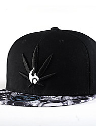 Unisex Fashion Hip Hop Skull Hat White Weed Leaf Embroidery Street Dance Baseball Caps