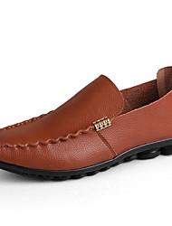 Men's Loafers & Slip-Ons Spring / Fall Comfort Leatherette Casual Flat Heel Slip-on Black / Brown / Yellow / Tan Walking